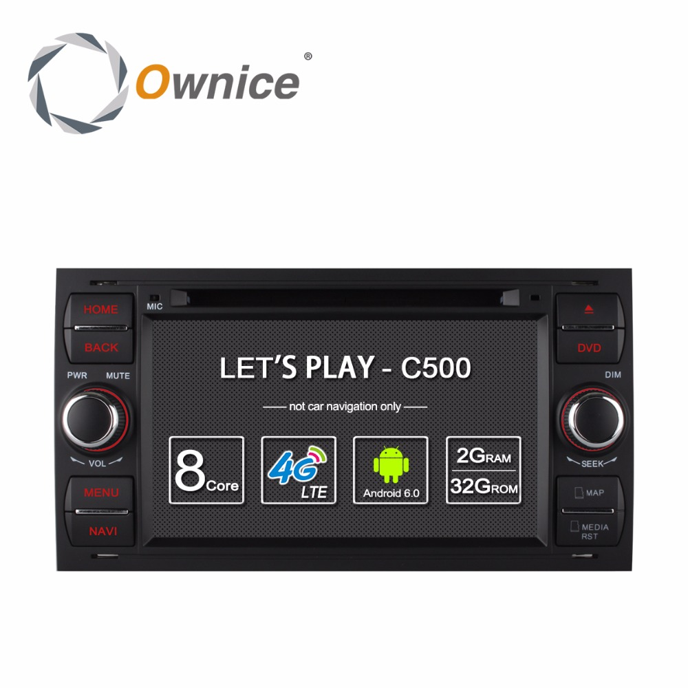 Ownice C500 2 Din Android 6.0 4 Core In Dash Car DVD Player For Ford Mondeo Focus Transit C-MAX GPS Navi Radio Support 4G LTE