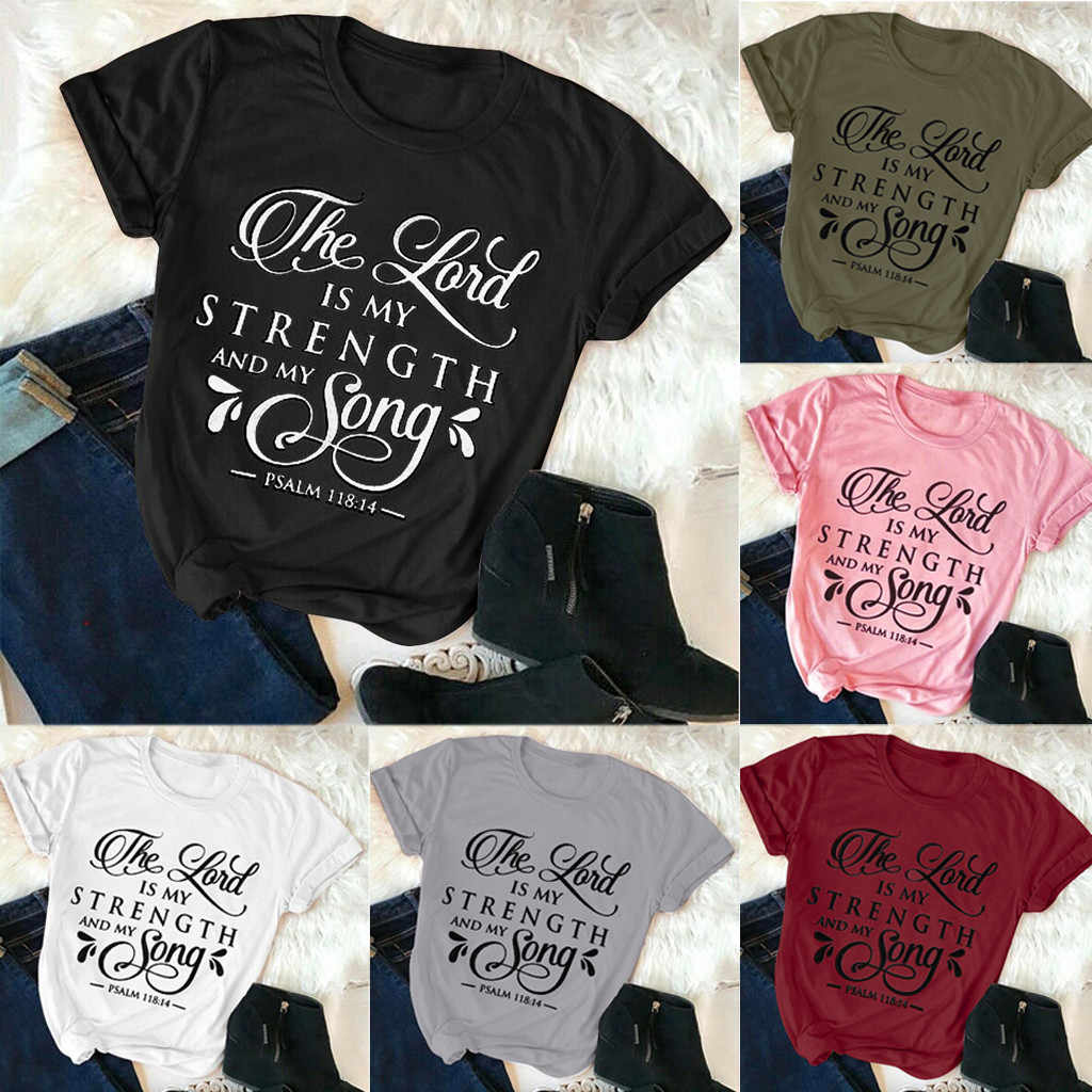 Multicolor Top Womens Plus Size Letter Print T-shirt Fashion Summer Christian Casual Tops Shirt Minimalist Style Tee Shirt Femme