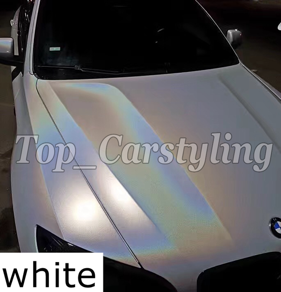 White Psychedelic Flip Vinyl Wrap with Air bubble Free Car Wrap Covering Rainbow Gloss Grey psychedelics size 1.52x20m/5x67ft