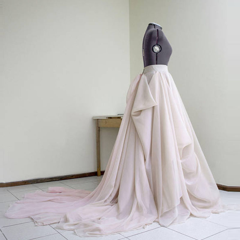 Haute Couture Blush Wedding Skirt With Train Custom Made Nude Draped Bridal Skirt Ball Gown Layered Long Skirt For Banquet Party