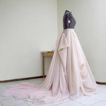 Haute Couture Blush Wedding Skirt with Train Custom Made Nud