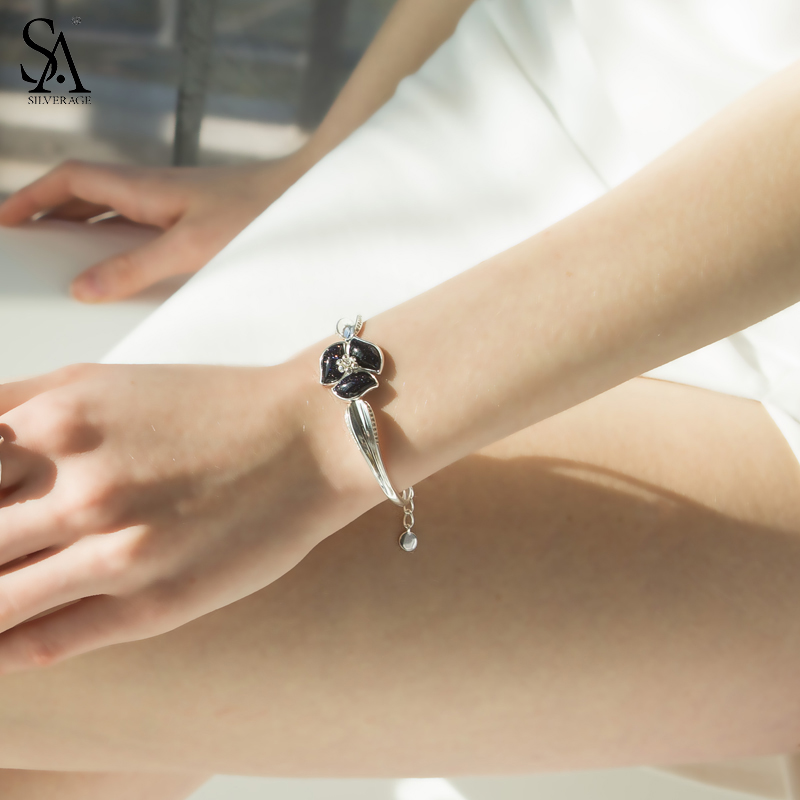 SA SILVERAGE 925 argent Sterling fleur chaîne Bracelets & Bracelets pour femmes bijoux fins noir Vintage argent Bracelets Bracelets