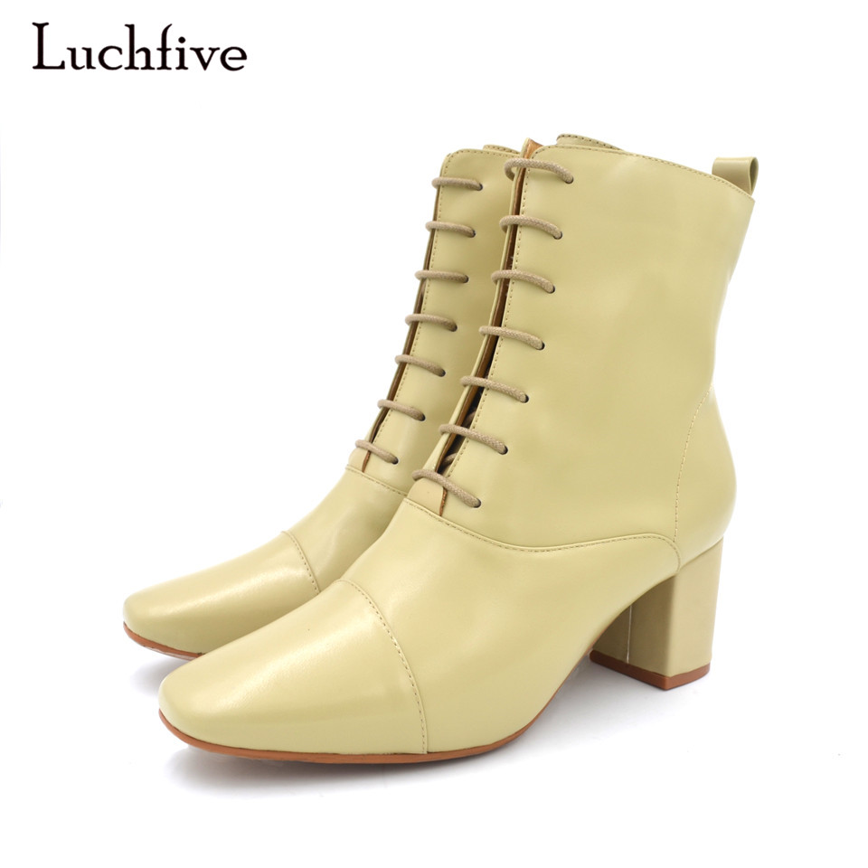 Genuine Leather Ankle Boots Women Fashion Square Toe Lace up Botas Mujer Chelsea Boots Chunky high heel Women Booties sfzb new square toe lace up genuine leather solid nude women ankle boots thick heel brand women shoes causal motorcycles boot