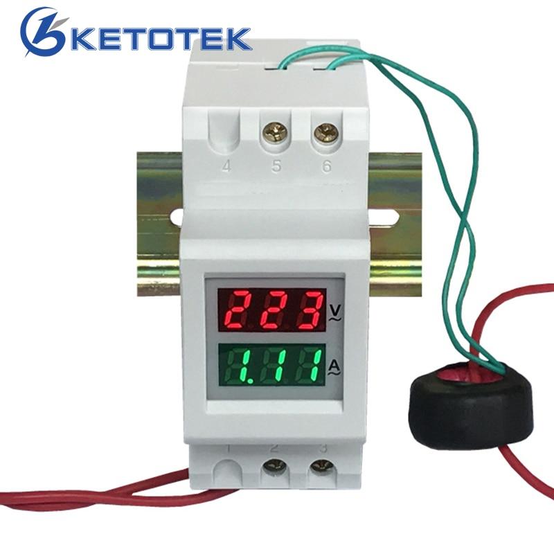 Din Rail AC Voltmeter Ammeter AC 80.0-300.0V / AC 200.0-450.0V 100A Voltage Current Meter Power Monitor Dual LED Display