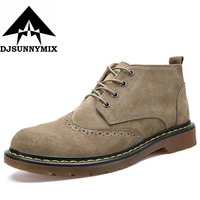 DJSUNNYMIX Autumn New Men Ankle Boots Handmade Cow Suede Men Martin Boots Fashion Buckles Lace Up