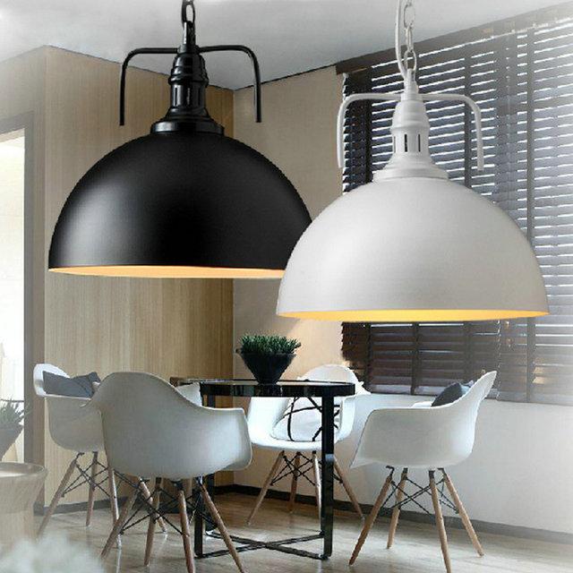 White Black Pendant Lamp Modern Vintage Industrial Edison