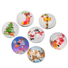 12Pcs Mixed Colors Glass Christmas Theme Pattern Round Click Snap Buttons Press Charm 18mm
