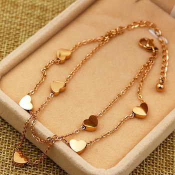 Super Lovely Seven Hearts Rose Gold Double Chain Anklet Titanium Steel Anti Allergic Anklet Jewelry Woman Kid Best Gift 3