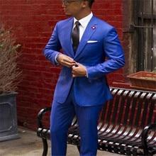 Wholesale Classic Royal Blue Groom Tuxedos Cheap Slim Fit No