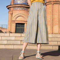 Inman 2019 summer new arrival high waist casual pant loose style cotton wavy striped print three quarter wide leg pants