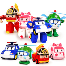 4 styles Action Figures Robocar Transformation Robot Korea Anime Roy Amber Car Model Kids Boys Toys For Children Gift F4