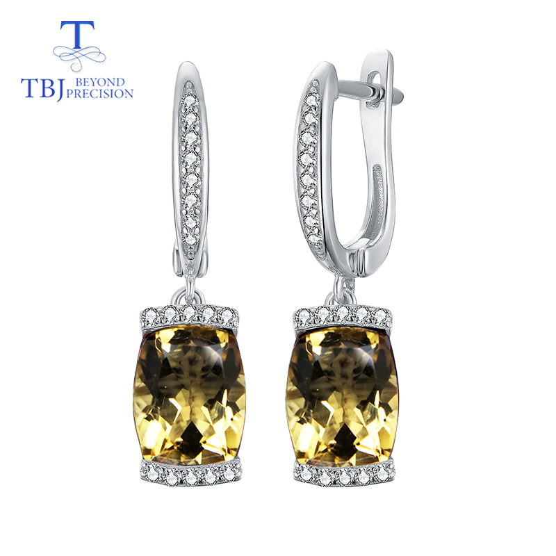 TBJ 2019 new style with natural brazil citrine 3 8ct real gemston fine earring 925 sterling