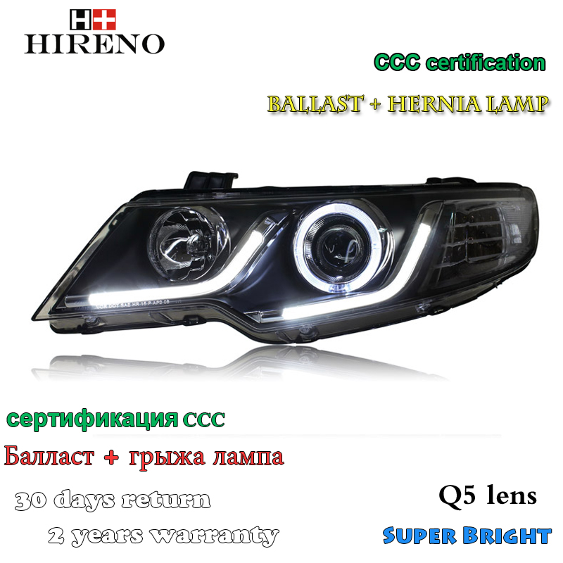Hireno Headlamp for 2010-2014 KIA Forte Headlight Assembly LED DRL Angel Lens Double Beam HID Xenon 2pcs 2pcs purple blue red green led demon eyes for bixenon projector lens hella5 q5 2 5inch and 3 0inch headlight angel devil demon