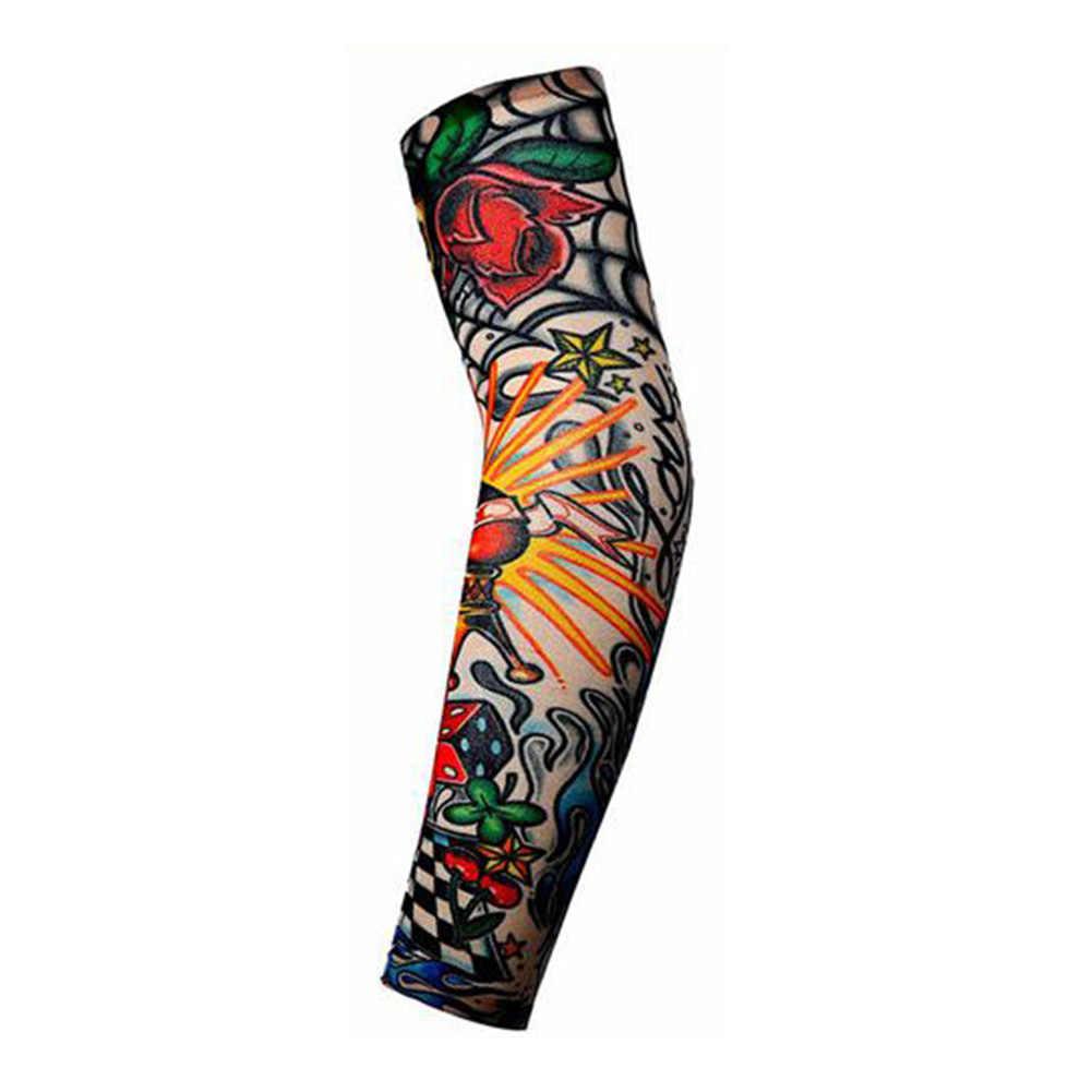 Mode Mannen Vrouwen Tattoo Arm Been Mouwen Hoge Elastische Nylon Zonnebrandcrème Halloween Party Dance Party Tattoo Uv-bescherming Mouw