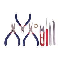 PandaHall Elite DIY Jewelry Tool Kits, with Pliers, Scissor, Beading Tweezers and Other Tools, Black, 15.5x11x3.5cm