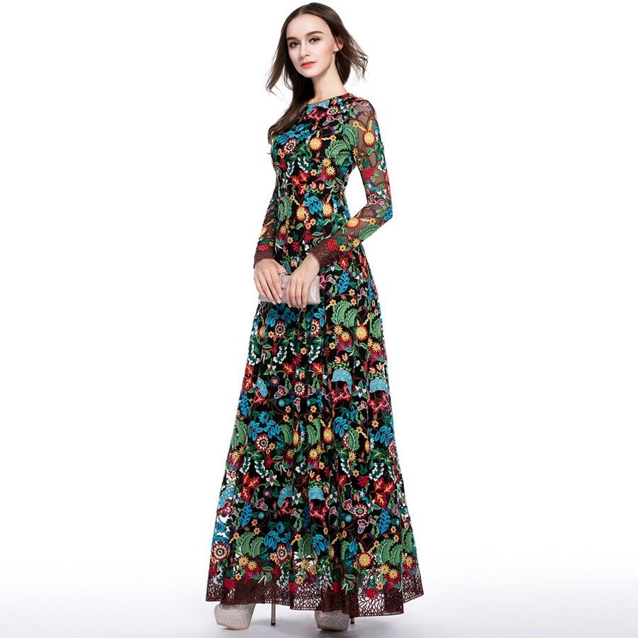 Kadın Giyim'ten Elbiseler'de Lüks Uzun Elbiseler 2018 Yaz Pist Kadın Yeni Moda Tam Kollu Çiçek Nakış Ince Vintage XXL Zarif Parti Maxi Elbise'da  Grup 3
