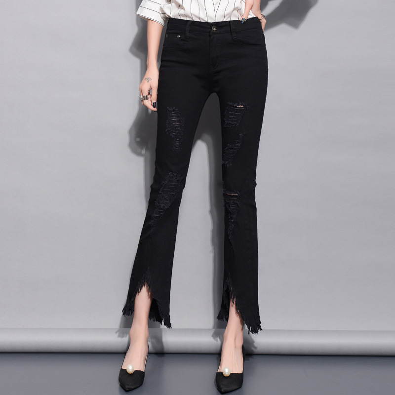 2018 Fashion High Waist Women Skinny Denim Pants Holes Pencil Pants Casual Trousers Pants Summer Autumn Ladies   Jeans   4VS001-007