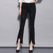 2018 Модные с высокой талией женские узкие джинсовые брюки с дырками узкие брюки повседневные брюки Брюки Лето Осень Женские джинсы 4VS001-007