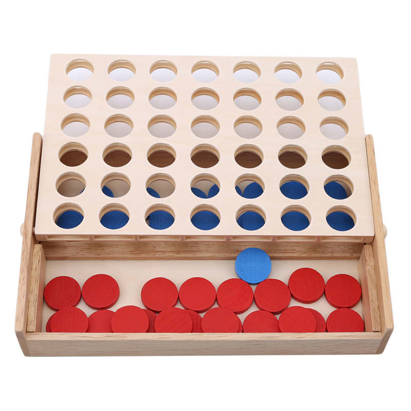 Line Up 4 Classic Family Board Four In A Row Wooden Bingo Game Toy Fun Educational Toy For Kids Children Gifts Kids Toys