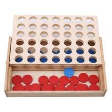 Tabuleiro de família clássico 4 em uma linha, jogo de bingo de madeira, brinquedo educacional divertido para crianças brinquedos infantis presentes