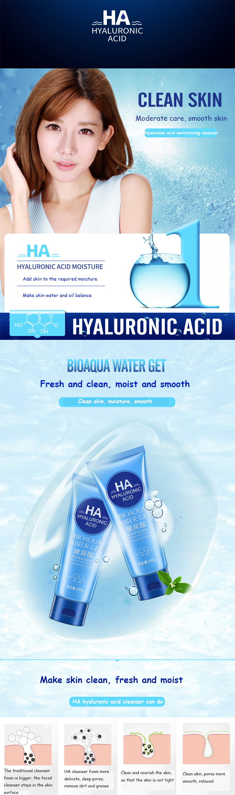 BIOAQUA Brand Hyaluronic Acid Facial Pore Cleanser Moisturizing Deep Cleaning Washing Whitening Hydrating Tender Face Skin Care 10