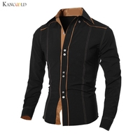 Men Long Sleeve Shirt Male Formal Evening Party Dress Shirts Business Man Contrast Color Turn Down