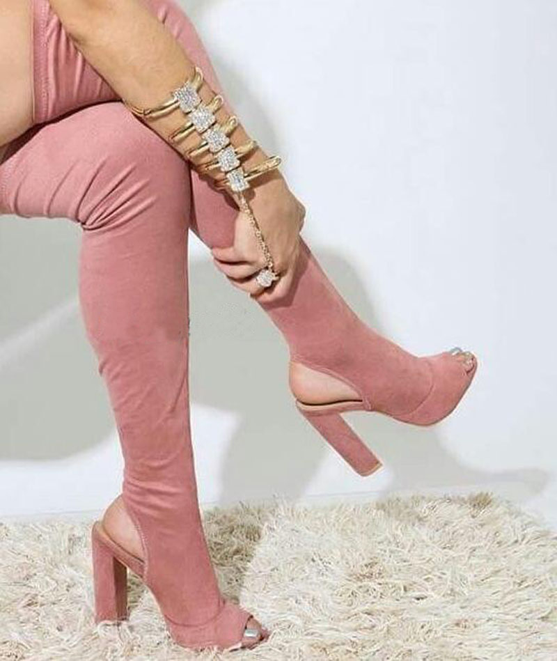 New Arrival Women Fashion Open Toe Suede Leather Over Knee Slim Long Boots Cut-out Thick Heel Thigh High Heel Boots Dress Shoes цена 2017