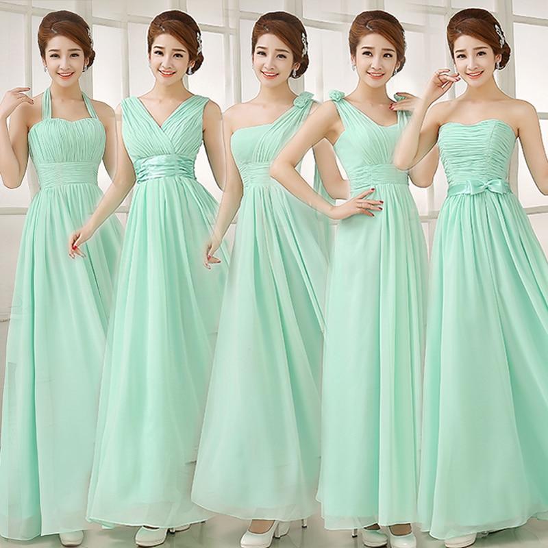 2017 barato a largo verde menta de dama de honor vestidos