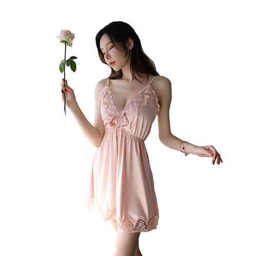 Night Sleep Dress Nighties for Women Underwear Lingerie Sling Lace Embroidery V-Neck Sexy Nightdress Lenceria Femenina 12