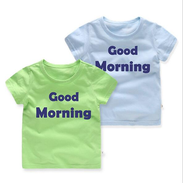 new fashion child t shirt letter good morning PK 27 kids 2-7T for boys and girls