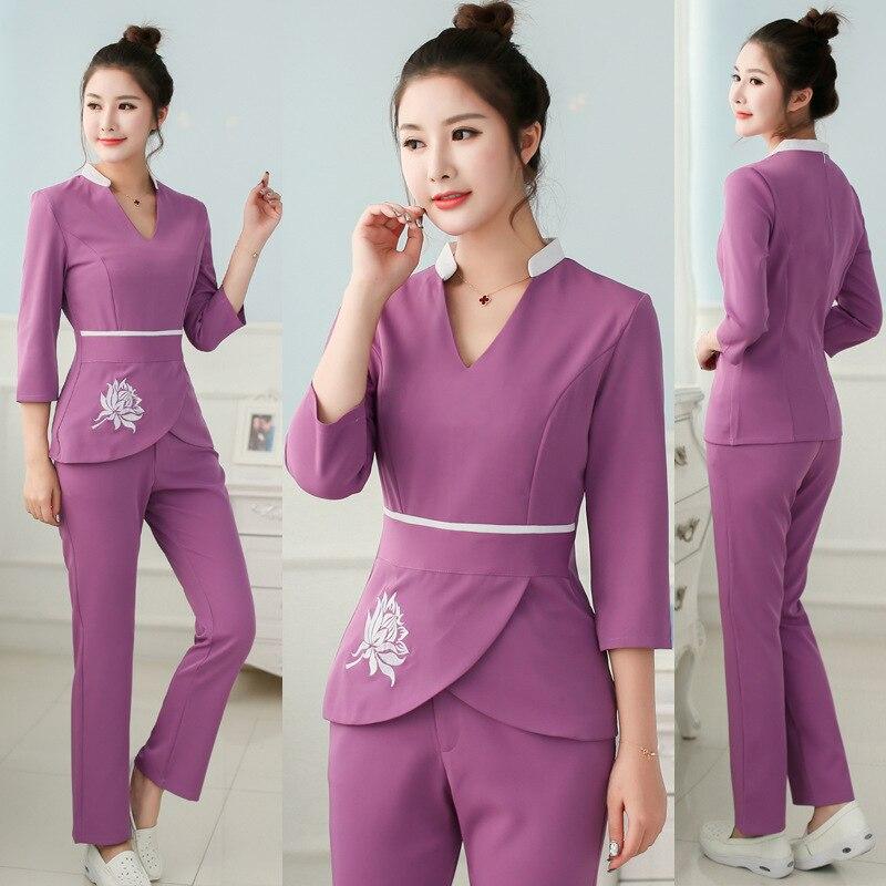 Women SPA Workwear 2pcs Sets Female Hospital Nurse Uniforms Wholesales Beauty Clothing Beautician Work Clothes L123
