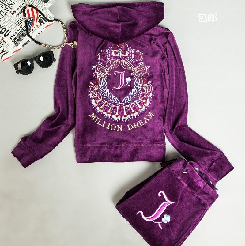 New arrival 2017 Velvet   set women's spring and autumn sweatshirt sportswear womens 2piece fashion set  tracksuits