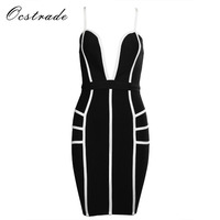 Ocstrade Black And White Dress Summer New Arrival 2017 Women Hot Sexy Deep V Neck Bandage