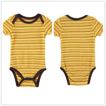 Autumn 1 Piece Cotton Style Baby Girl Boy Clothes Short Sleeve New Born Body Baby Ropa Striped Yellow Baby Bodysuit r040