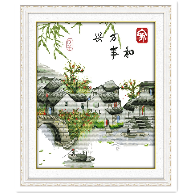 A Peaceful Family Will Prosper (Yangtze River Edition ) Home decoration DIY Needlework Chinese Counted Cross Stitch Kits Pattern