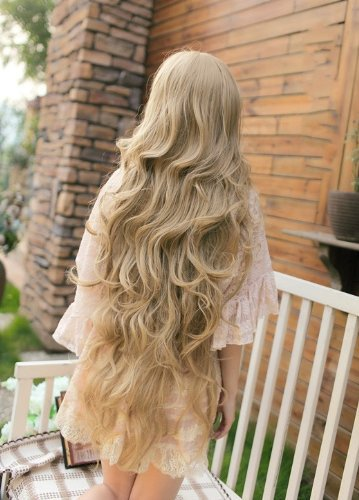 100 Cm Super Long Curly Wavy Harajuku Anime Lolita Wig Cosplay Women  Synthetic Hair Blonde Wigs Costume Party Peruca Perucas ad221bd9bc