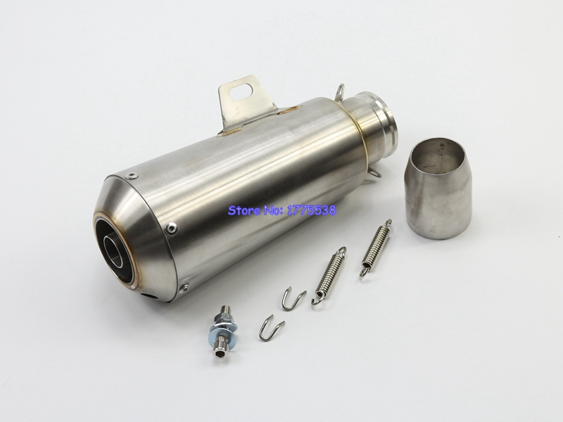 High Quality Stainless Steel ID:51mm 2 L:245mm Universal Motorbike Motorcycle Exhaust Muffler Pipe Escape Damper with DB Killer