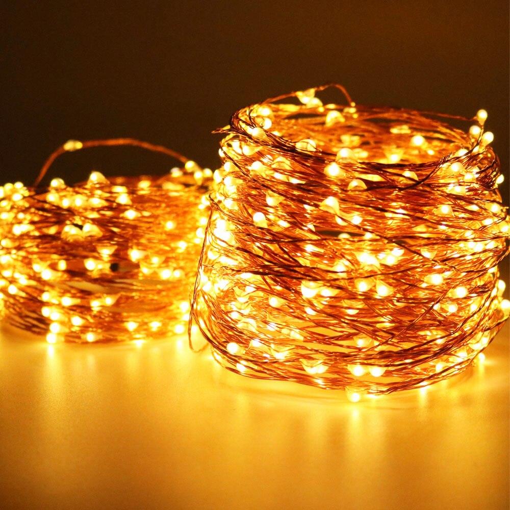 O mais longo luzes de fadas 5 m 10 m 20 m 30 m 50 m 100 m 1000 luzes led decoração guirlanda luz impermeável ao ar livre para o natal + plug