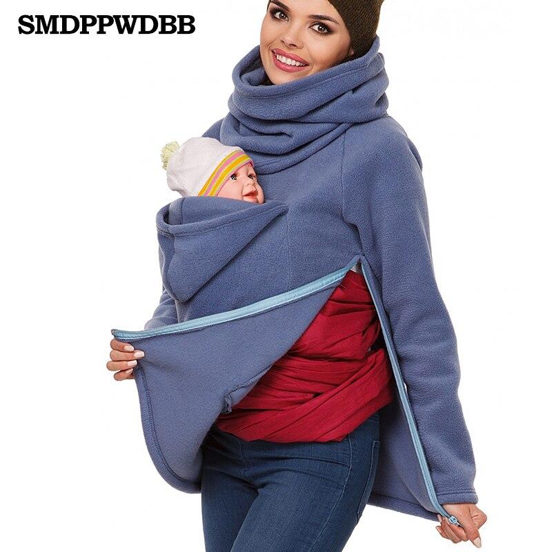 SMDPPWDBB Woman Multifunctional Mother Kangaroo Coats Winter Models Warm Printed Wave Pullovers Quality Long Sleeved Coat