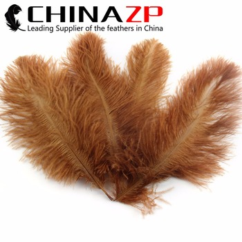 "Leading Supplier CHINAZP Factory 10""-12"" (25-30cm) 100pcs/lot Good Quality Dyed Brown Natural Ostrich Feathers"