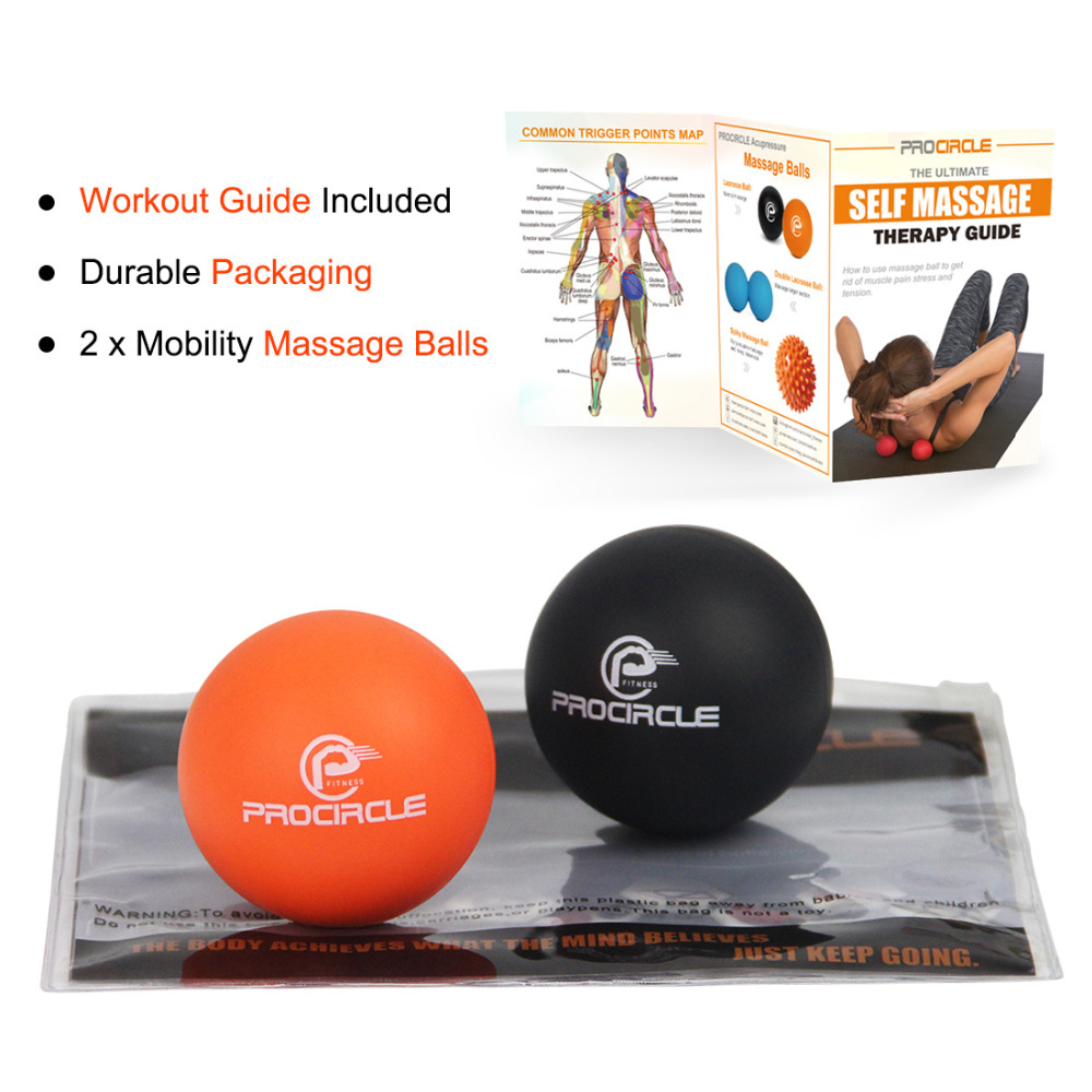 ProCirlce 2PCS Foot Massage Balls Rubber Lcrosse Balls For Trigger Point Massage <font><b>Fitness</b></font> Exercise Rehab Physiotherapy