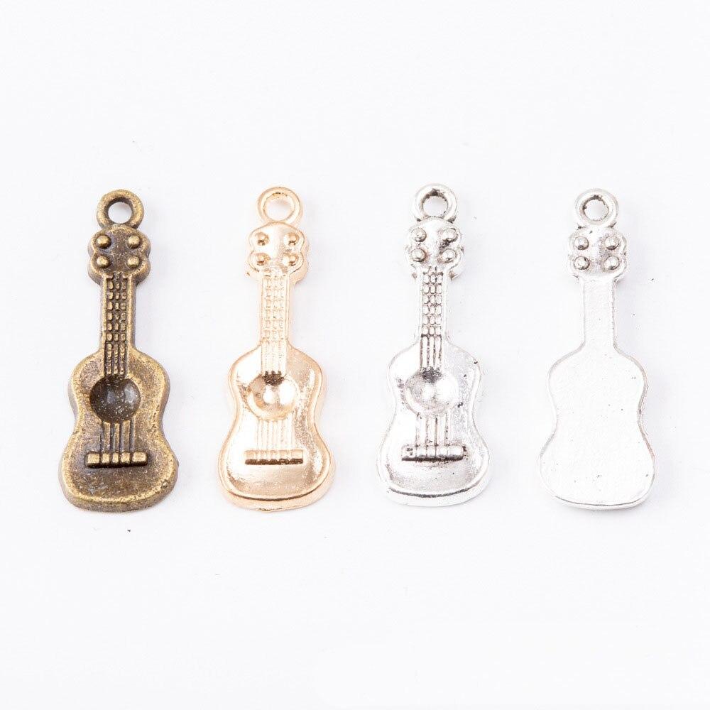 Nova Chegada 50 pcs 27*9 MM Música Guitarra Forma Liga Encantos Jóias Acessórios Ornamento Colar de Bronze Prata Ouro pingentes de metal