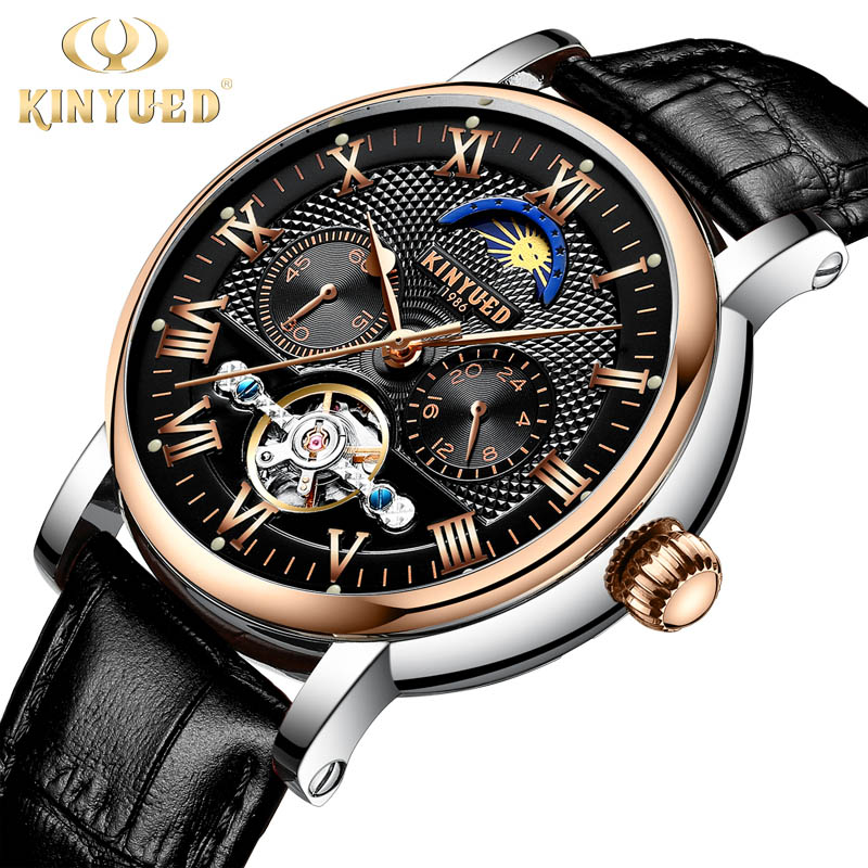 KINYUED Skeleton Tourbillon Mechanical Watch Automatic Men Classic Male Rose gold Dial Genuine Leather Mechanical Wrist Watches цена