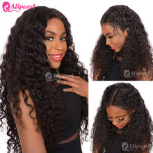 AliPearl Lace Front Human Hair Wigs Water Wave Wigs For Women PrePlucked 130% 150% 180% 250%Density Natural Black Remy Hair Wig(China)