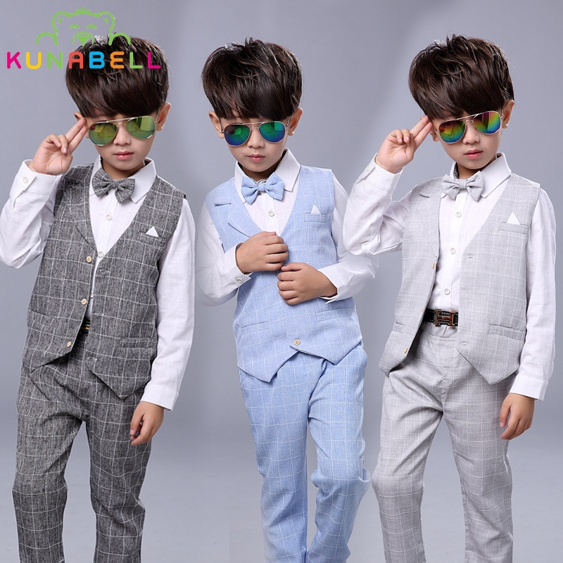 Kids Boys Formal Suits Birthday Wedding Party Dress Gentleman Plaid Shirt Waistcoat Vest Pants Korean Style Children Clothe B021