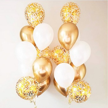 10/18pc Metal Chrome Gold Silver Latex Balloons Transparent Golden Confetti Balloon Wedding Birthday Rose Gold Party Decor Balao image