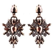 Colorful Flower Big Brand Design Luxury Starburst Pendant Crystal Stud Earrings Gem Statement Earrings Jewelry