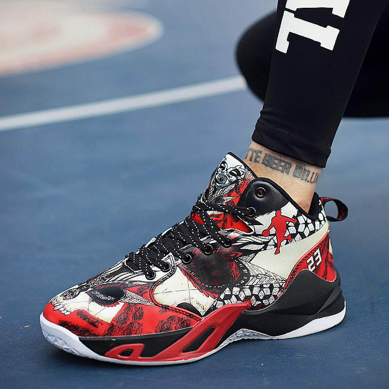 Boy Outdoor Shoes Red Basketball Sneakers Male Pu Leather Sneakers Men High Top Brand Gym Shoes Designer Basketball Shoes Sport 13