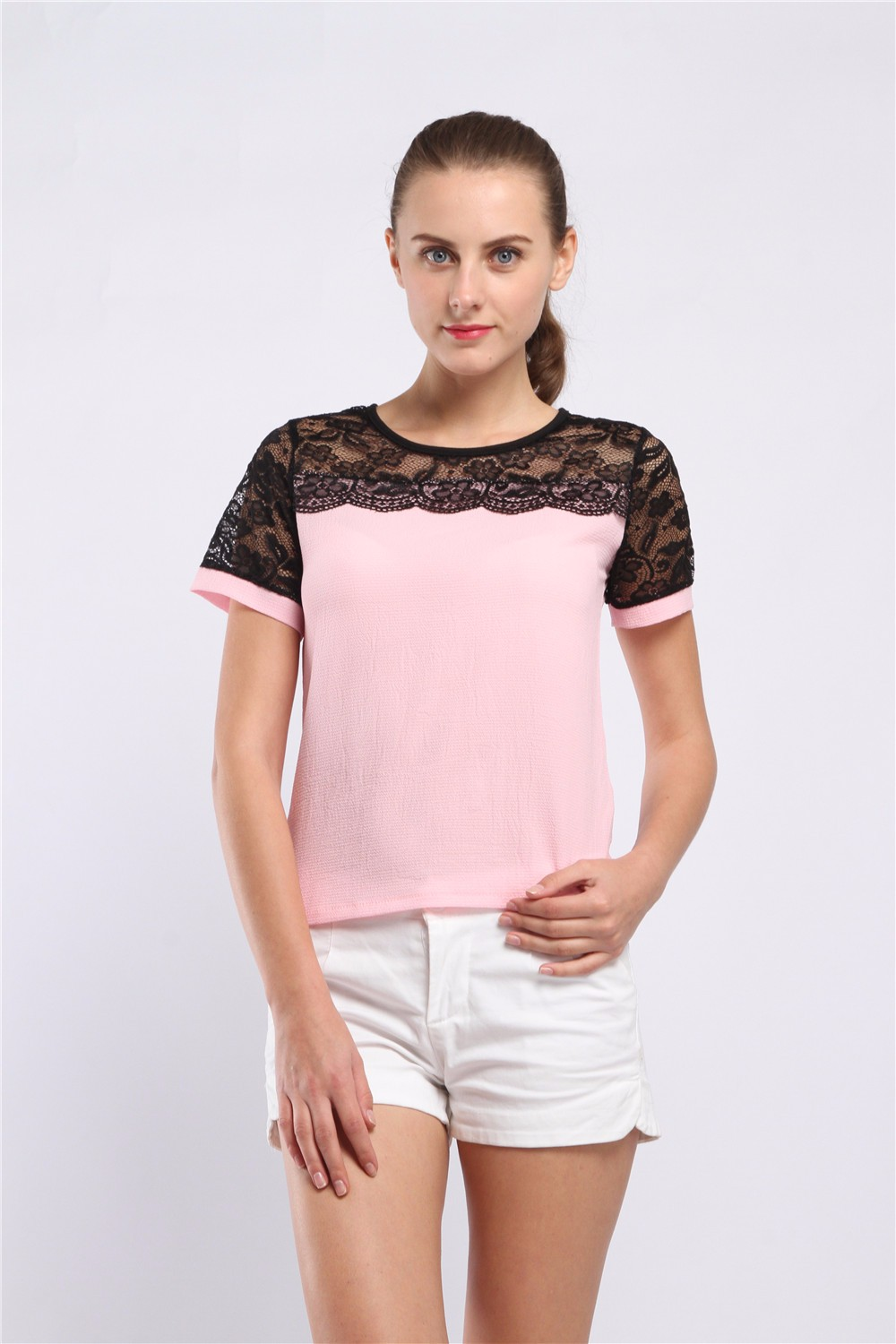 Women Blouses Summer Lace Chiffon Blouse Casual Blusa Feminina Tops Fashion Chemise Femme Shirts Plus Size 5XL Red White Pink 15