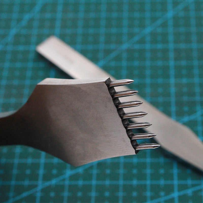 Kalıp çelik deri yumruk aracı yuvarlak delik zanaat deri keski iğneleme demir dikiş araçları deri 3/4/5mm aralık